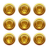 Gold button web icons, set 19 Stock Photo