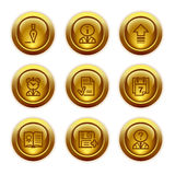 Gold button web icons, set 2 royalty free illustration