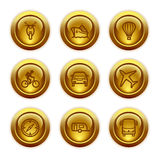 Gold button web icons, set 20. Vector icons set for internet, website, guides Stock Image