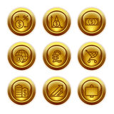 Gold button web icons, set 23 Royalty Free Stock Photos