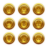 Gold button web icons, set 24. Vector icons set for internet, website, guides Stock Photography