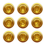 Gold button web icons, set 26 Stock Photo
