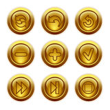 Gold button web icons, set 29 Royalty Free Stock Photos