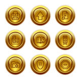 Gold button web icons, set 4 vector illustration