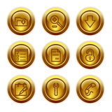 Gold button web icons, set 8 Royalty Free Stock Image