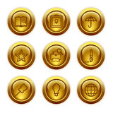 Gold button web icons, set 9 stock illustration