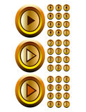 Gold  buttons  audio  video  media  cotroller  vec Royalty Free Stock Image