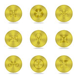 Gold buttons icon isolated Stock Photo