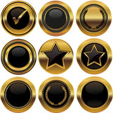 Gold buttons and labels Royalty Free Stock Photos