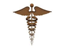 Gold caduceus Royalty Free Stock Photo