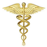 Gold Caduceus - medical symbol with isolated on white Stock Photo