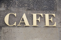 Gold Cafe Sign Royalty Free Stock Photo