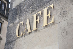 Gold Cafe Sign Royalty Free Stock Photos