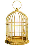 Gold cage. Isolated on white stock illustration