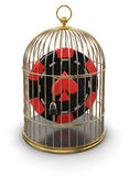 Gold Cage with Casino chip (clipping path included) Stock Photo