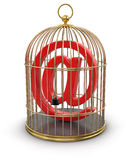 Gold Cage with E-Mail (clipping path included) Stock Images