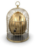 Gold Cage with Egg (clipping path included) Royalty Free Stock Image