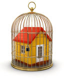 Gold Cage with House (clipping path included) Royalty Free Stock Photography