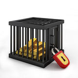 Gold in cage Royalty Free Stock Photography