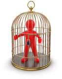 Gold Cage with Man (clipping path included) Stock Photography