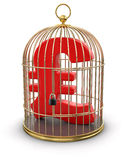 Gold Cage with Pound (clipping path included) Stock Photo