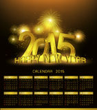 Gold calendar 2015. Gold Platinum calendar 2015 and Happy New Year 2015 Royalty Free Stock Photos