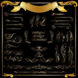 Gold calligraphic design elements, decoration Stock Photography