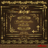 Gold calligraphic design elements vol2 Royalty Free Stock Photo
