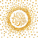 Gold calligraphic inscription Merry Christmas. Gold handwritten calligraphic inscription Merry Christmas inscribed in a circle pattern of golden confetti. Design stock illustration