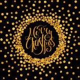 Gold calligraphic inscription Merry Christmas. Gold handwritten calligraphic inscription Merry Christmas inscribed in a circle pattern of golden confetti. Design vector illustration