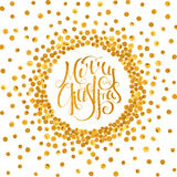 Gold calligraphic inscription Merry Christmas. Gold handwritten calligraphic inscription Merry Christmas inscribed in a circle pattern of golden confetti. Design royalty free illustration