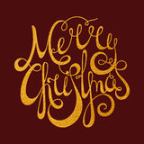 Gold calligraphic inscription Merry Christmas Royalty Free Stock Photography