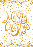 Gold calligraphic inscription Merry Christmas Stock Image