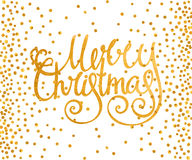 Gold calligraphic inscription Merry Christmas Royalty Free Stock Image