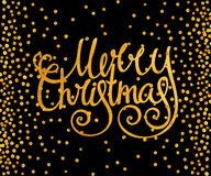 Gold calligraphic inscription Merry Christmas Stock Photo