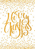 Gold calligraphic inscription Merry Christmas Royalty Free Stock Photo