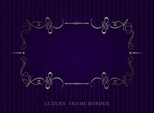 Gold calligraphic luxury frame border on violet background. vect Royalty Free Stock Photography