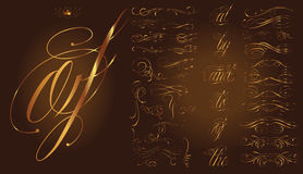 Gold calligraphic tattoo set. Handmade tattoo lettering and decorative elements Stock Photo