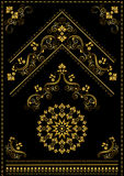 Gold calligraphy oriental ornaments and corner on black background Royalty Free Stock Photography