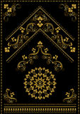 Gold calligraphy oriental ornaments and corner on black background Stock Photography