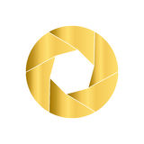 Gold camera shutter. Round icon. Circle logo. Stock Photos