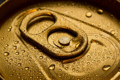 Gold Can With Condensation Stock Photography