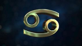 Gold Cancer Zodiac sign, 3D rendering. Gold Zodiac sign, part of the set. 3D stock illustration