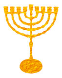 Gold candelabrum isolated on white background. Yellow candelabrum, Hanukkah on transparent background. Digital Illustration (detail) for printable, web and royalty free illustration