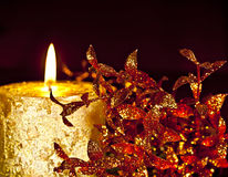 Gold Candle. Royalty Free Stock Image