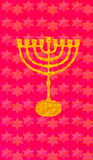 Hanukkah Gold Menorah candlestick David stars red pattern. Hanukkah Gold Menorah Jewish Holiday, candlestick on red background. Vertical format for Greeting card royalty free illustration