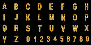 Gold capital letters and numbers on black background. 3D illustration Royalty Free Stock Photos
