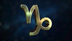 Gold Capricorn Zodiac sign, 3D rendering. Gold Zodiac sign, part of the set. 3D vector illustration