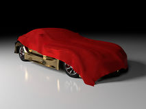 Gold car and red cloth Royalty Free Stock Image