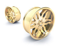 Gold car rims concept Royalty Free Stock Images